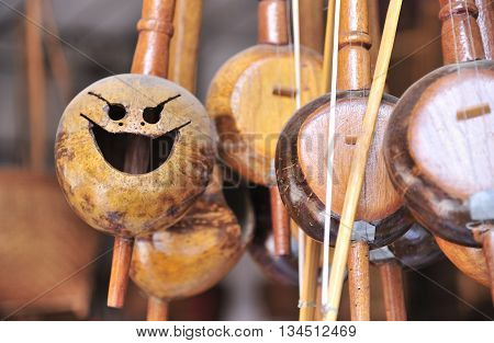 Thailand engraved instruments made from coconut shells.