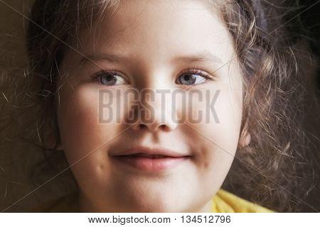 portrait of attractive young girl. indoor