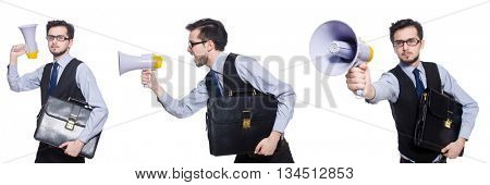 Collage of young businessman with loudspeaker on white