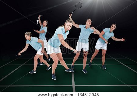 Composite image of pretty blonde playing badminton on badminton field