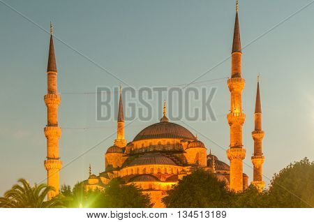 Famous mosque in turkish city of Istanbul