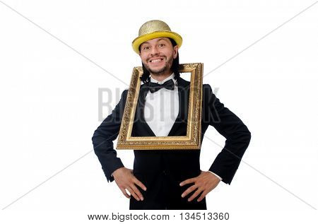 Man with picture frame isolated on white