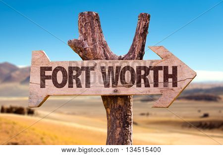 Fort Worth directional arrow in a desert