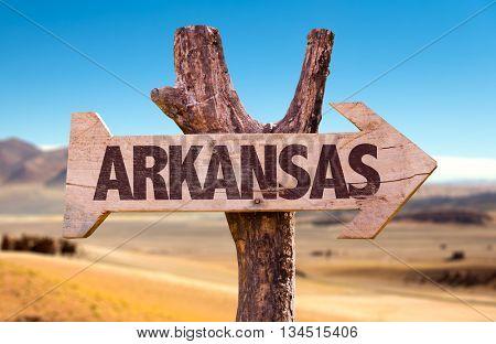Arkansas directional arrow in a desert