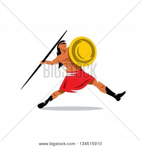 Gladiator with shield javelin throwing. Isolated on a white background