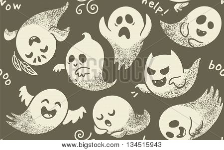 Cute white spooky ghosts on gray background. Seamless vector pattern with ghosts child drawing style. Ghosts with Different Expressions