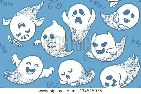 Cute spooky ghosts on blue background. Seamless vector pattern with ghosts child drawing style. Ghosts with Different Expressions
