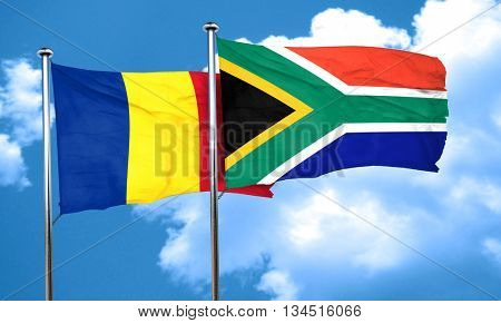 Romania flag with South Africa flag, 3D rendering
