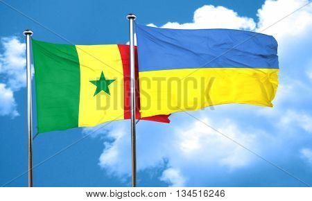 Senegal flag with Ukraine flag, 3D rendering