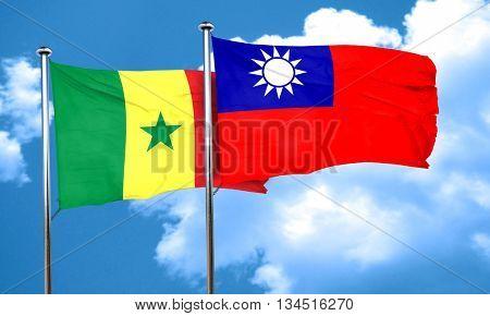 Senegal flag with Taiwan flag, 3D rendering