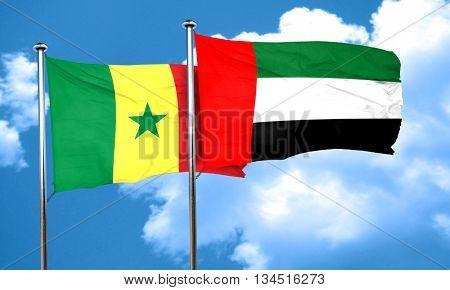 Senegal flag with UAE flag, 3D rendering