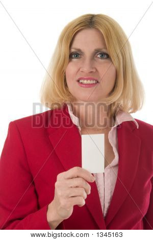 Woman Holding Blank Business Card 2