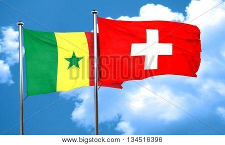 Senegal flag with Switzerland flag, 3D rendering
