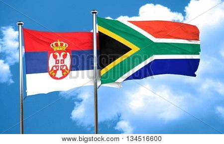 Serbia flag with South Africa flag, 3D rendering