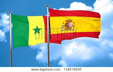 Senegal flag with Spain flag, 3D rendering