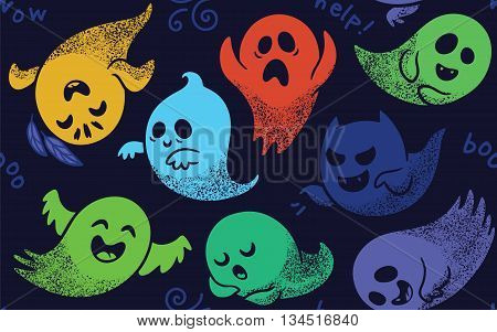 Cute spooky ghosts on dark blue background. Seamless vector pattern with ghosts child drawing style. Ghosts with Different Expressions