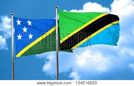 Solomon islands flag with Tanzania flag, 3D rendering