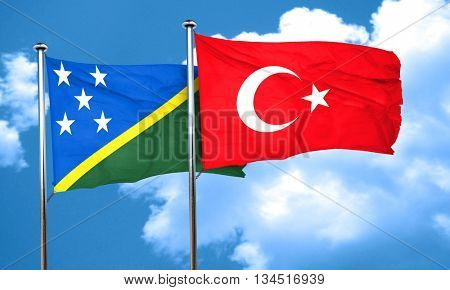 Solomon islands flag with Turkey flag, 3D rendering