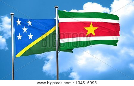 Solomon islands flag with Suriname flag, 3D rendering