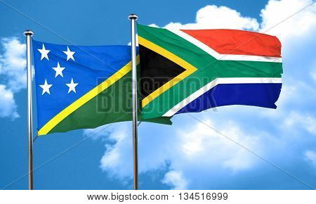Solomon islands flag with South Africa flag, 3D rendering