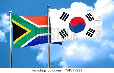 South africa flag with South Korea flag, 3D rendering