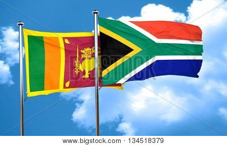 Sri lanka flag with South Africa flag, 3D rendering
