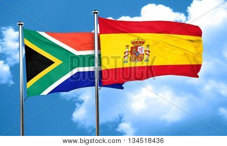 South africa flag with Spain flag, 3D rendering