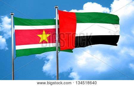 Suriname flag with UAE flag, 3D rendering