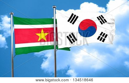 Suriname flag with South Korea flag, 3D rendering