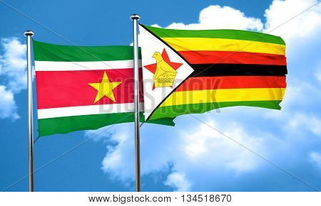 Suriname flag with Zimbabwe flag, 3D rendering