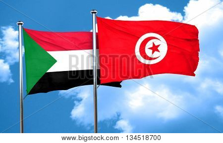 Sudan flag with Tunisia flag, 3D rendering