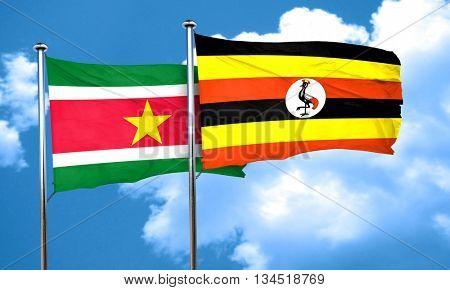 Suriname flag with Uganda flag, 3D rendering