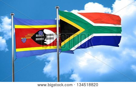 Swaziland flag with South Africa flag, 3D rendering