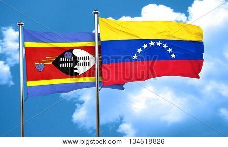 Swaziland flag with Venezuela flag, 3D rendering