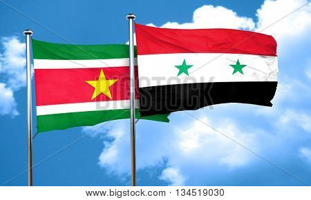 Suriname flag with Syria flag, 3D rendering