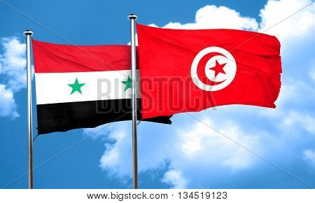 Syria flag with Tunisia flag, 3D rendering