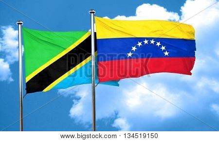 Tanzanian flag with Venezuela flag, 3D rendering
