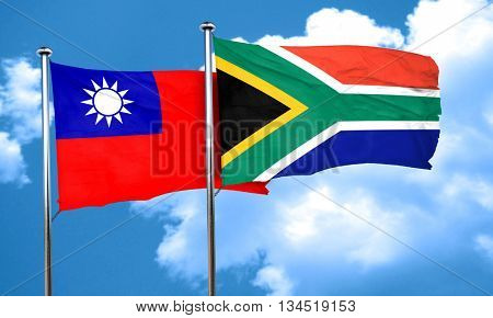 Taiwan flag with South Africa flag, 3D rendering