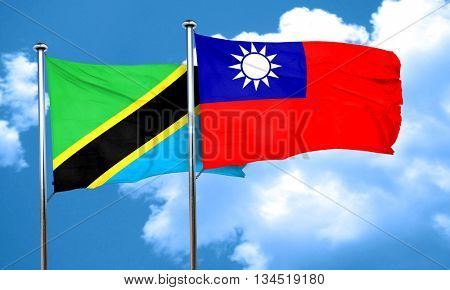 Tanzanian flag with Taiwan flag, 3D rendering