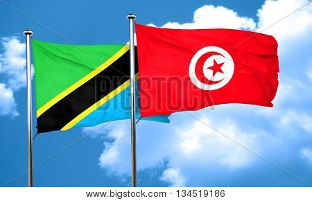 Tanzanian flag with Tunisia flag, 3D rendering