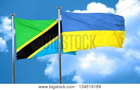Tanzanian flag with Ukraine flag, 3D rendering