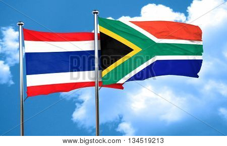 Thailand flag with South Africa flag, 3D rendering