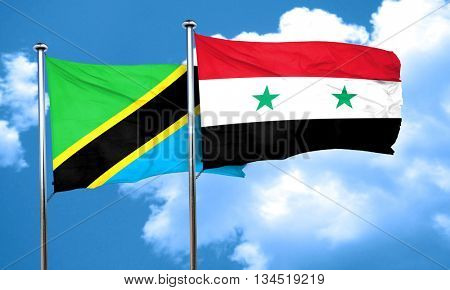 Tanzanian flag with Syria flag, 3D rendering