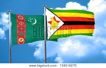 Turkmenistan flag with Zimbabwe flag, 3D rendering