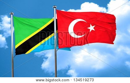 Tanzanian flag with Turkey flag, 3D rendering