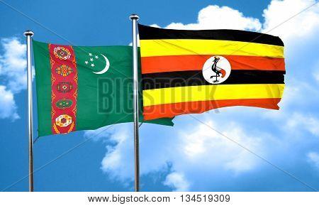Turkmenistan flag with Uganda flag, 3D rendering
