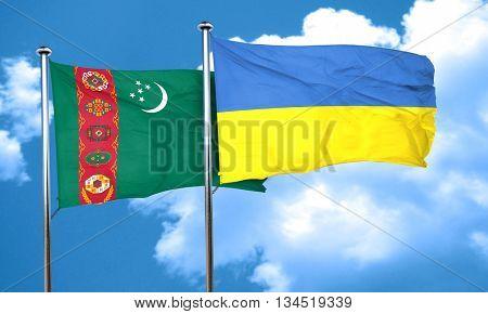 Turkmenistan flag with Ukraine flag, 3D rendering