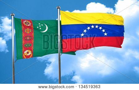 Turkmenistan flag with Venezuela flag, 3D rendering