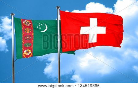 Turkmenistan flag with Switzerland flag, 3D rendering