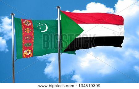 Turkmenistan flag with Sudan flag, 3D rendering